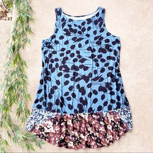 LOGO Lori Goldstein Mixed Floral Print Knit Tank